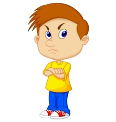Angry boy cartoon vector image