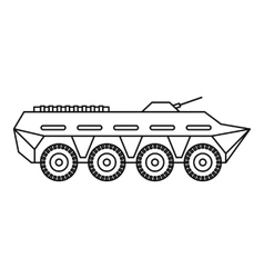 Army battle tank icon outline style vector image