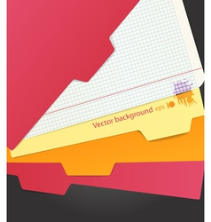 Background of color paper sheets and carton folder vector image