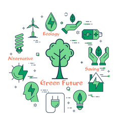 banner of clean energy - green tree vector image