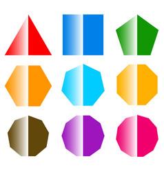 basic shapes with shine set of 9 shape icons vector image