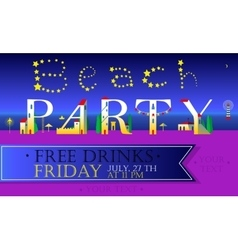 Beach party cute houses font on the night coast vector