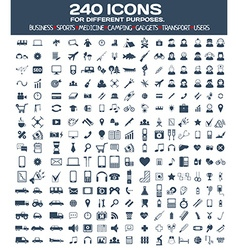 Big icons set for different purposes vector
