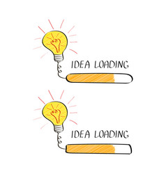 Big idea with loading bar in doodle style vector