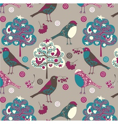 birds and trees wallpaper vector image