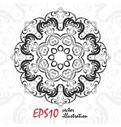 Black and white geometric mandala background vector image