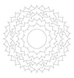 black and white round simple mandala lotus vector image