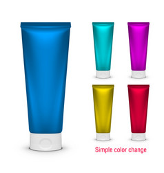 Blank color cosmetic tube pack of cream or gel vector