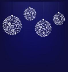 blue xmas card with christmas ball and star vector image