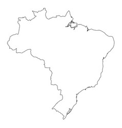 brazil - solid black outline border map of country vector image
