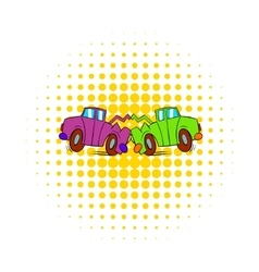 Car crash icon in comics style vector image