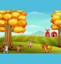 Cartoon animals in the farm background vector