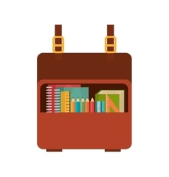 cartoon bag and collection tool school vector image