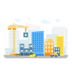 Cartoon constructions building on background of vector
