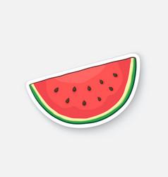 Cartoon sticker watermelon slice vector