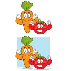 Cartoon tomato and carrot vector