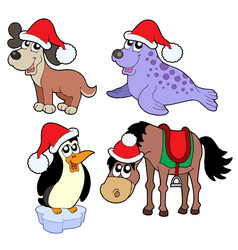 christmas animals collection vector image