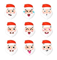 Christmas Set - six emotion faces of santa vector image