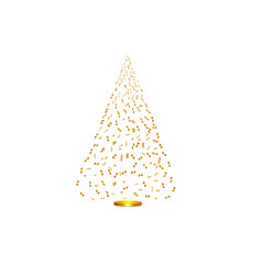 Christmas tree from golden confetti on white vector