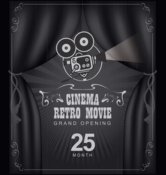 Cinema poster with black curtains and camera vector