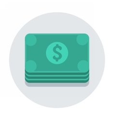 circle flat icon dollars vector image