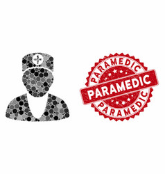 Collage medic with grunge paramedic stamp vector