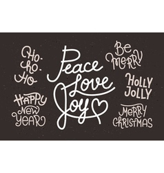 Collection of hand written Christmas phrases for i vector image