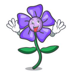 Crazy periwinkle flower mascot cartoon vector