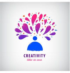 Creative team imagination art logo man vector