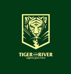 crouching tiger in river vector image