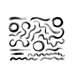 curved black paint brush strokes with circles vector image
