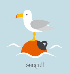 cute card with seagull vector image