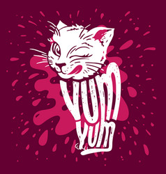 cute kitten says yum-yum vector image