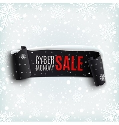 Cyber Monday sale background with black realistic vector image