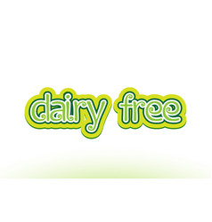 Dairy free word text logo icon typography design vector