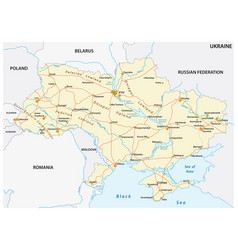 detailed colored road map ukraine vector image