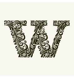 Elegant capital letter W in the style Baroque vector image
