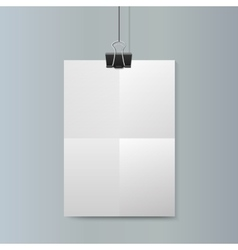 Empty vertical white paper poster mockup vector image vector image