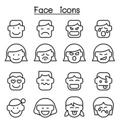 face icon set in thin line style vector image