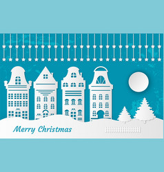 fairy tale paper cut city of snow postcard vector image