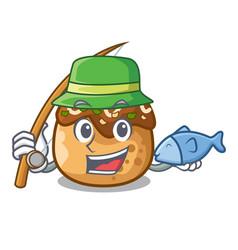 Fishing takoyaki balls diisolasi on a mascot vector