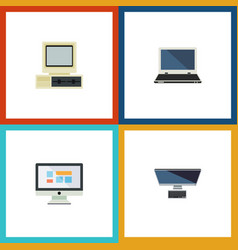 flat icon laptop set of computer notebook pc and vector image