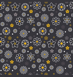 flowers seamless pattern with flat line icons vector image