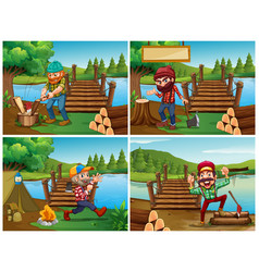 Four scenes with lumberjack and woods vector