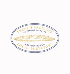 french baguette frame badge or logo template hand vector image