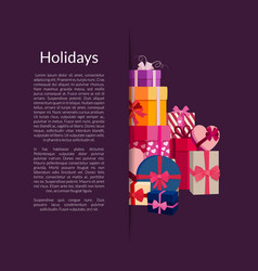 Gift boxes or packages pile vector