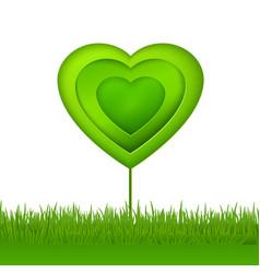 Green paper eco heart tree vector