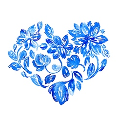 Hand drawn watercolor flower heart vector image