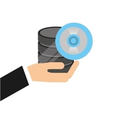 Hand holds data cd storage icon vector