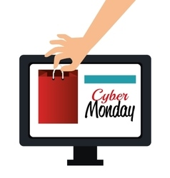 hand shop gift computer cyber monday vector image